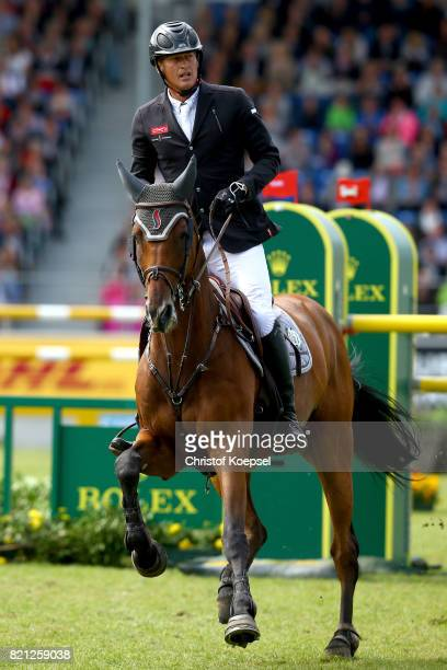 Marc Houtzager of the Netherlands rides onSterrehof's Calimero during the Rolex Grand Prix of CHIO Aachen 2017 at Aachener Soers on July 23 2017 in...