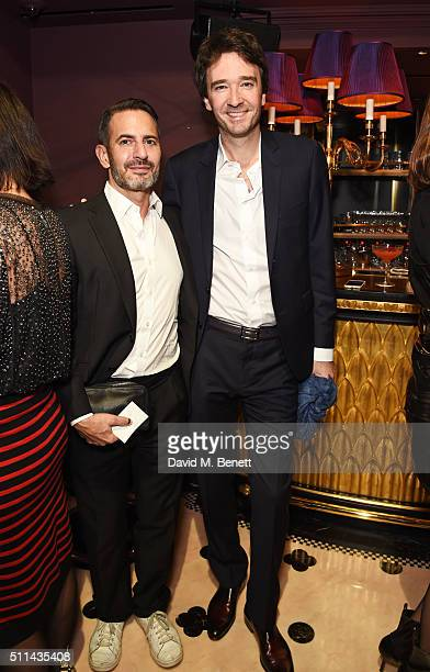 Marc Jacobs and Antoine Arnault attend the Marc Jacobs Beauty dinner at the Club at Park Chinois on February 20 2016 in London England