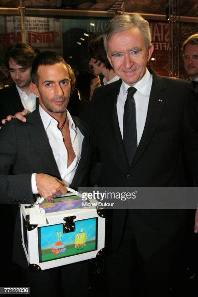 Marc Jacobs and Bernard Arnault attends the Louis Vuitton fashion show, during the Spring/Summer 2008 ready-to-wear collection show at Cour carree du...