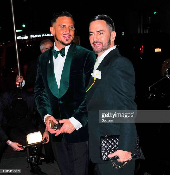 Marc Jacobs and Char DeFrancesco arrive at their wedding reception on April 6 2019 in New York City