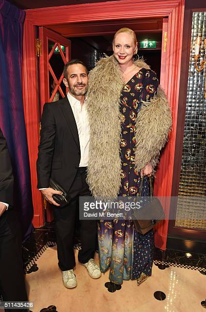 Marc Jacobs and Gwendoline Christie attend the Marc Jacobs Beauty dinner at the Club at Park Chinois on February 20 2016 in London England