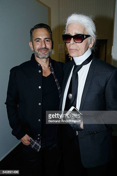 Marc Jacobs and Karl Lagerfeld attend the LVMH Prize 2016 Young Fashion Designer at Fondation Louis Vuitton on June 16 2016 in Paris France