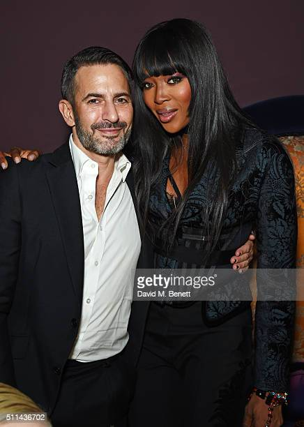 Marc Jacobs and Naomi Campbell attend the Marc Jacobs Beauty dinner at the Club at Park Chinois on February 20 2016 in London England