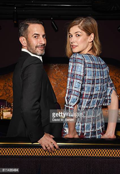 Marc Jacobs and Rosamund Pike attend the Marc Jacobs Beauty dinner at the Club at Park Chinois on February 20 2016 in London England