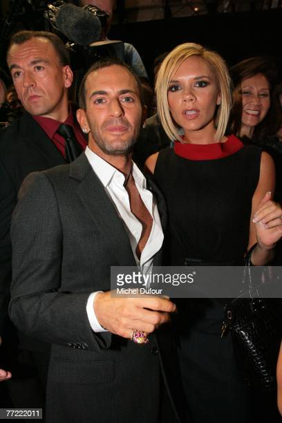 Marc Jacobs and Victoria Beckham attend the Louis Vuitton fashion show, during the Spring/Summer 2008 ready-to-wear collection show at Cour carree du...