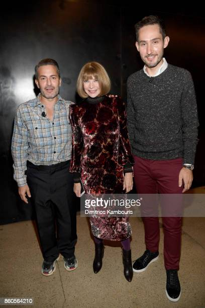 Marc Jacobs Anna Wintour and Kevin Systrom attend Vogue's Forces of Fashion Conference at Milk Studios on October 12 2017 in New York City