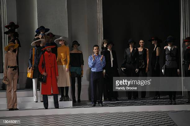 Marc Jacobs designer with models wearing Marc Jacobs Fall 2007