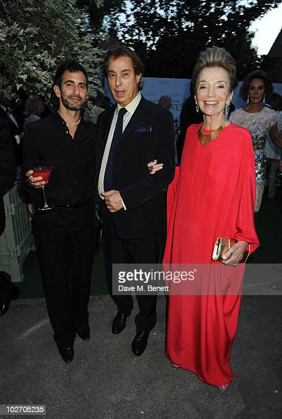 Marc Jacobs Gilles Dufour and Lee Radziwill attend the Valentino Garavani Archives Dinner Party on July 7 2010 in Versailles France