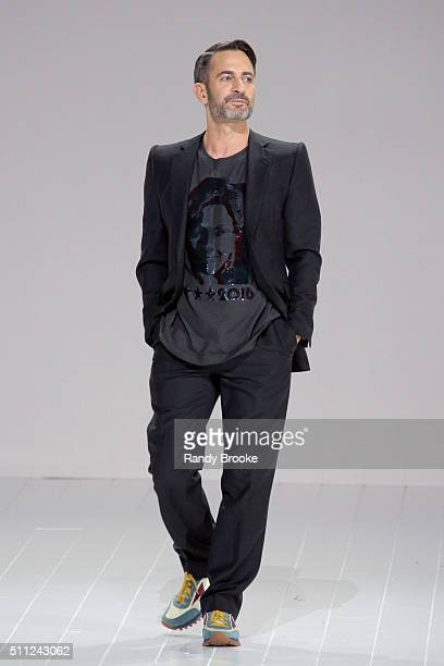 Marc Jacobs greets the audience after his Fall 2016 show during New York Fashion Week at The Park Avenue Armory at 643 Park Avenue on February 18,...