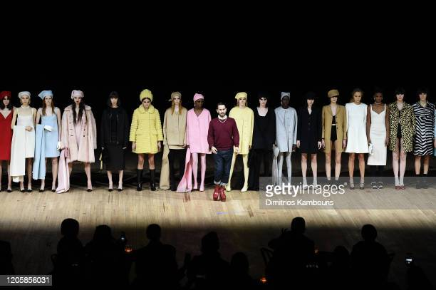 Marc Jacobs greets the audience during the runway finale at the Marc Jacobs Fall 2020 runway show during New York Fashion Week on February 12, 2020...