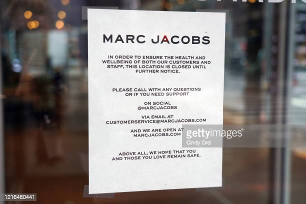 Marc Jacobs Madison sits empty after all merchandise is removed from view as the coronavirus continues to spread across the United States on April 02...