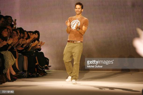 Marc Jacobs walks out onto the runway after the Louis Vuitton Fashion Show as part of Paris Fashion Week Spring/Summer 2007 on October 8 2006 in...