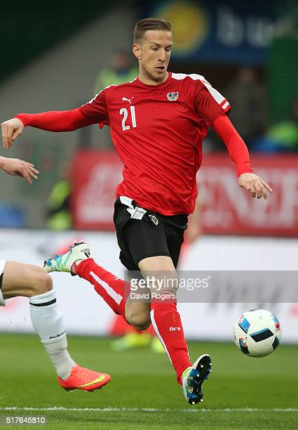 Marc Janko of Austria runs with the ball during the international friendly match between Austria and Albania at the ErnstHappelStadion on March 26...