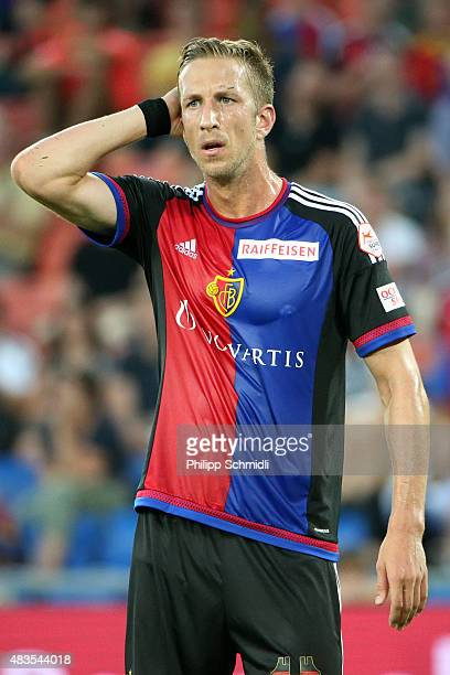 Marc Janko of FC Basel looks on during the UEFA Champions League third qualifying round 2nd leg match between FC Basel 1893 and KKS Lech Poznan at St...