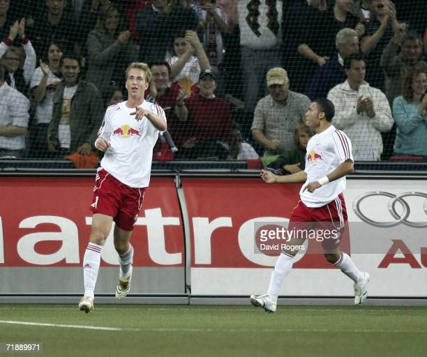 Marc Janko of FC Salzburg celebrates after scoring the last minute equalizing goal during the UEFA Cup first Round first Leg match between Red Bull...
