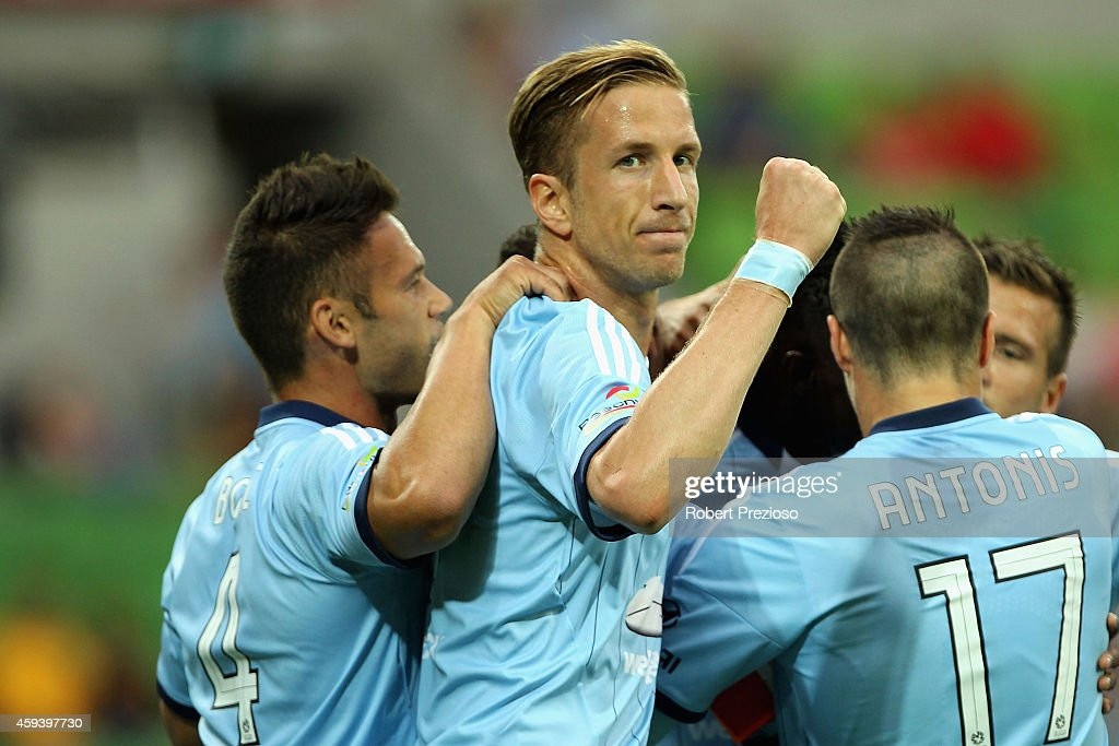 Marc Janko of Sydney celebrates with team-mates after scoring a goal during the round seven A-League match between Melbourne City and Sydney FC at AAMI Park on November 22, 2014 in Melbourne, Australia.