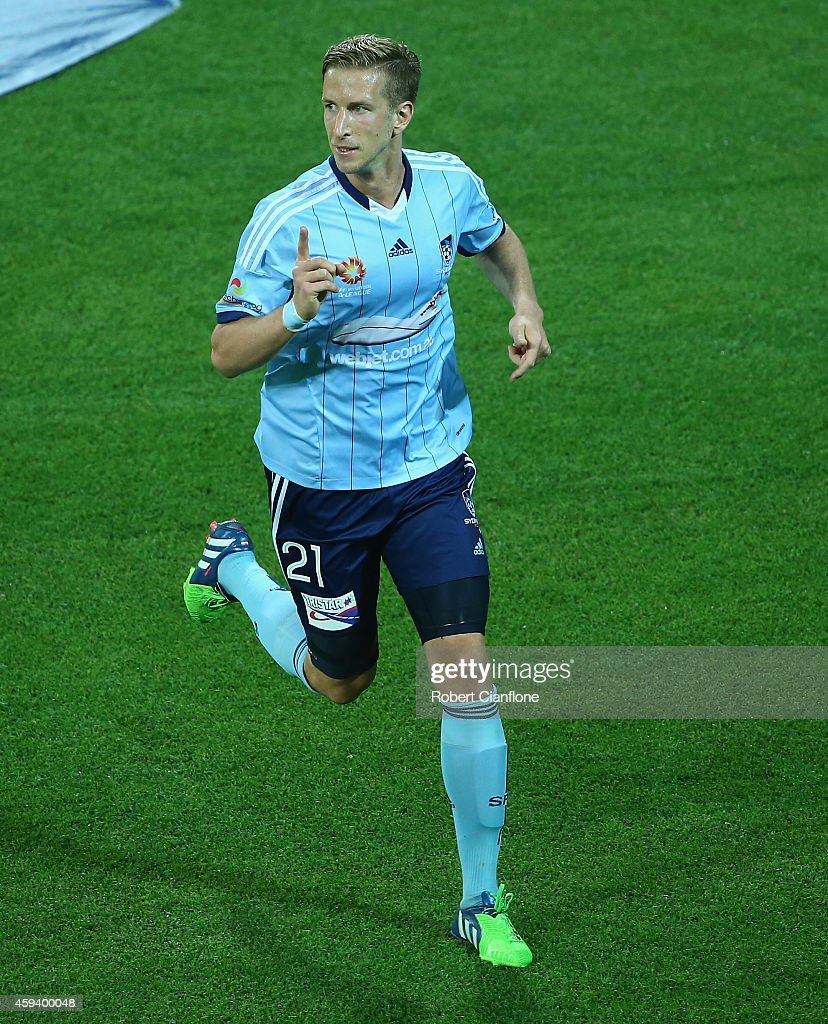 Marc Janko of Sydney FC celebrates after he scored during the round seven A-League match between Melbourne City and Sydney FC at AAMI Park on November 22, 2014 in Melbourne, Australia.
