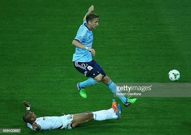 Marc Janko of Sydney FC is challenged by Patrick Kisnorbo of Melbourne City during the round seven ALeague match between Melbourne City and Sydney FC...