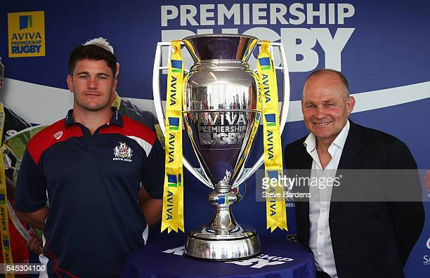 Marc Jones of Bristol Rugby and Bristol Rugby Director of Rugby Andy Robinson pose with the Aviva Premiership trophy during the 201617 Aviva...