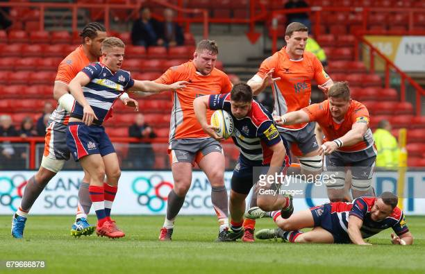 Marc Jones of Bristol Rugby attempts to break away during the Aviva Premiership match between Bristol Rugby and Newcastle Falcons at Ashton Gate on...