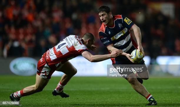 Marc Jones of Bristol Rugby is tackled by Jonny May of Gloucester Rugby during the Aviva Premiership match between Bristol Rugby and Gloucester Rugby...