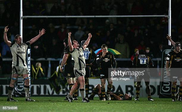 Marc Jones of Sale celebrates their victory at the final whistle during the Guinness Premiership match between London Wasps and Sale Sharks at Adams...