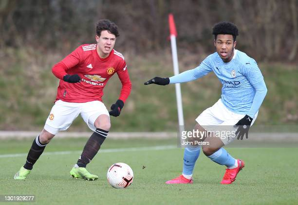 Marc Jurado of Manchester United U18s in action during the U18 Premier League match between Manchester United U18s and Manchester City U18s at Aon...