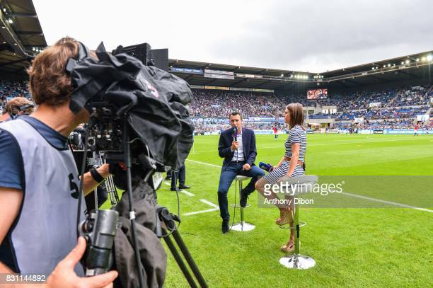 Marc Keller president of Strasbourg during an interview with Margaux Dumont journalist for Bein Sport during the Ligue 1 match between Racing Club...