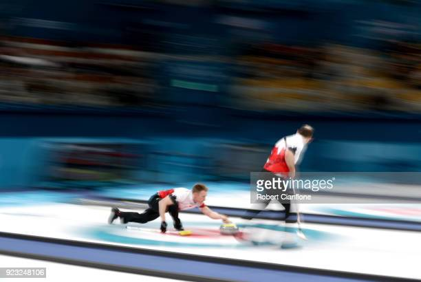 Marc Kennedy of Canada competes during the Bronze Medal match between Canada and Switzerland on day fourteen of the PyeongChang 2018 Winter Olympic...