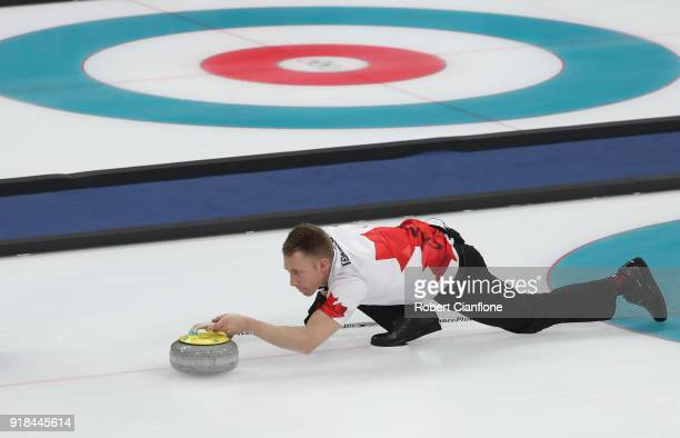 Marc Kennedy of Canada delivers a stone compete during the Curling Men's Round Robin Session 3 held at Gangneung Curling Centre on February 15 2018...