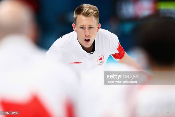 Marc Kennedy of Canada gives instructions to a team member during the Curling round robin session 7 on day nine of the PyeongChang 2018 Winter...