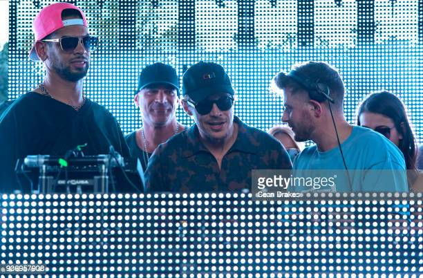 Marc Kinchen DJ Diplo and DJ Latmun perform on stage at the MK Area 10 Party hosted by 935FM Revolution Radio Miami at the National Hotel on South...