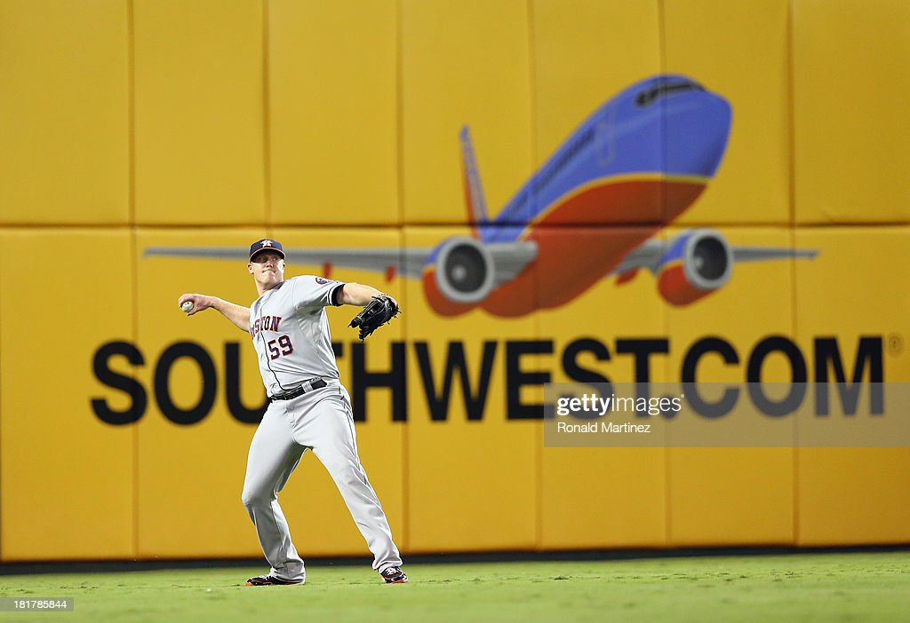 Marc Krauss #59 of the Houston Astros at Rangers Ballpark in Arlington on September 24, 2013 in Arlington, Texas.