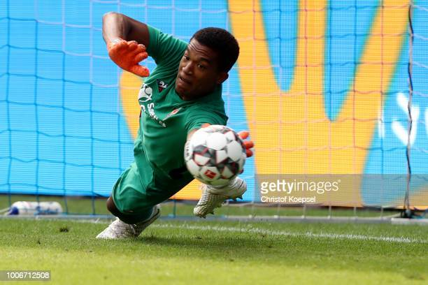 Marc Lafont Alban of Florenz saves a penalty during the first semi final match between MSV Duisburg and AC Florenz at SchauinslandReisenArena on July...