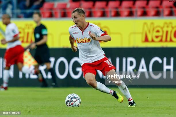 Marc Lais of Jahn Regensburg controls the ball during the Second Bundesliga match between SSV Jahn Regensburg and SG Dynamo Dresden on September 14...