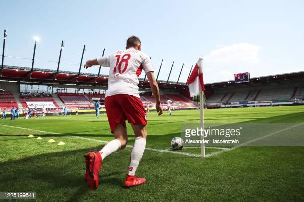 Marc Lais of Jahn Regensburg takes a corner during the Second Bundesliga match between SSV Jahn Regensburg and Holstein Kiel at Continental Arena on...