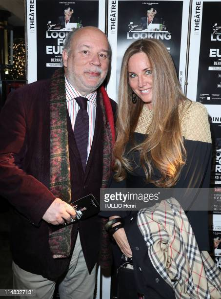 Marc Lambron and Delphine Marang Alexandre are photographed for Paris Match at the Theater Antoine for the success of BernardHenri Levy playing in...