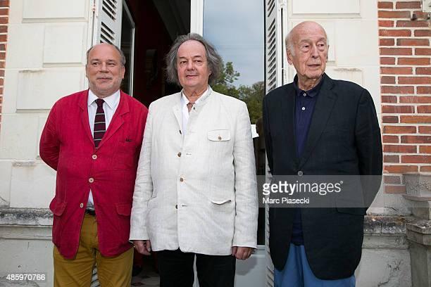 Marc Lambron Gonzague Saint Bris and Valery Giscard d'Estaing attend the 2Oth 'La Foret des Livres' book fair on August 30 2015 in...