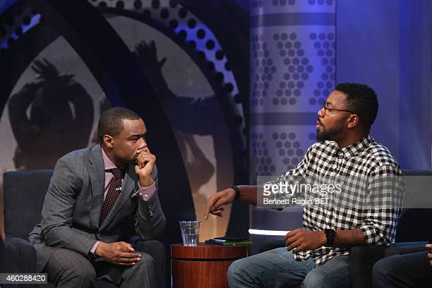 Marc Lamont Hill and Phillip Agnew attend Justice For UsBET Town Hall Live at BET studio on December 10 2014 in New York City
