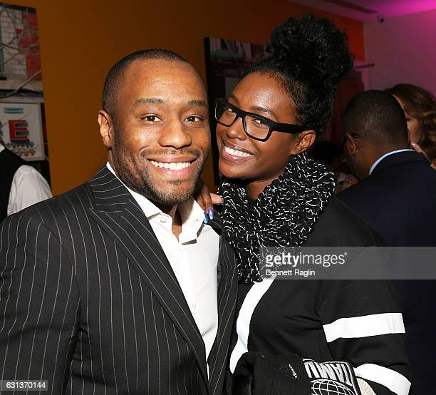 Marc Lamont HIll and Scottie Beam attend the Being Mary Jane premiere screening and party on January 9 2017 in New York City