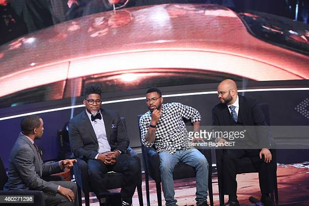 Marc Lamont Hill David Banner Phillip Agnew and Philip Atiba Goff attend Justice For UsBET Town Hall Live at BET studio on December 10 2014 in New...