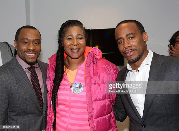 Marc Lamont Hill Esaw Garner and Jeff Johnson attends] Justice For Us BET Town Hall Live at BET studio on December 10 2014 in New York City