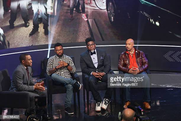 Marc Lamont Hill Phillip Agnew David Banner and Kristen Foy attend Justice For UsBET Town Hall Live at BET studio on December 10 2014 in New York City