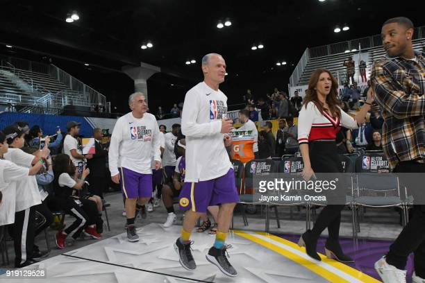 Marc Lasry Flea Rachel Nichols and Michael B Jordan take the floor prior to the 2018 NBA AllStar Game Celebrity Game at Los Angeles Convention Center...