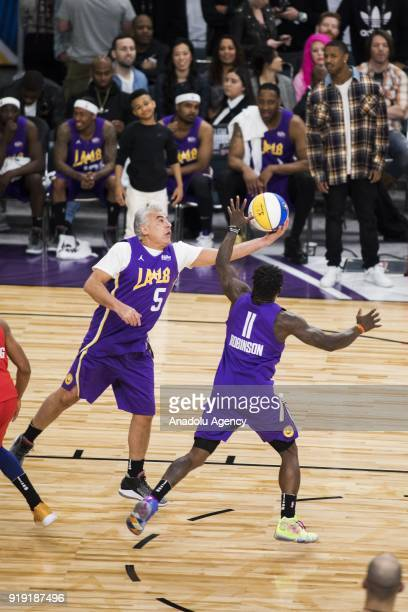 Marc Lasry of Team Lakers makes a rebound during the 2018 NBA AllStar Celebrity Game as part of AllStar Weekend at the Los Angeles Convention Center...