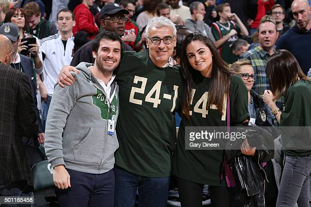 Marc Lasry owner of the Milwaukee Bucks enjoys watching the game against the Golden State Warriors on December 12 2015 at the BMO Harris Bradley...