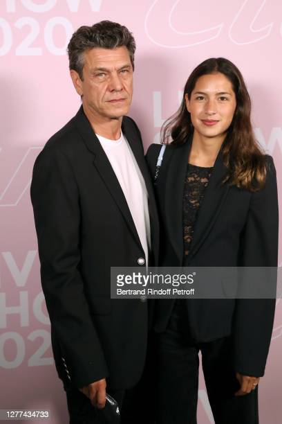 Marc Lavoine and his wife Line Papin attend the Etam Live Show Womenswear Spring/Summer 2021 show as part of Paris Fashion Week on September 29 2020...