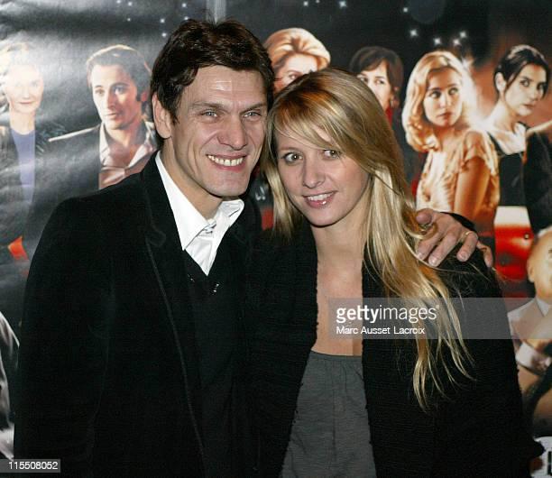 Marc Lavoine and wife Sarah Poniatowski during Le Heros de la Famille Paris Premiere at UGC Normandie in Paris France