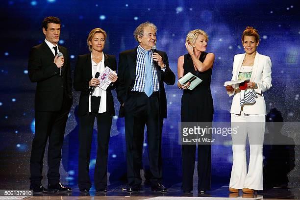 Marc Lavoine AnneSophie Lapix Pierre Perret Sophie Davant and Laura Tenoudji attend the 'France Television Telethon 2015'Marc Lavoine at Hippodrome...