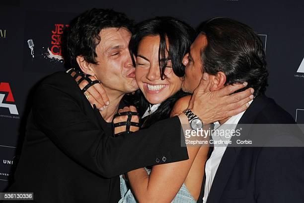 Marc Lavoine Sandra Zeitoun and Valery Zeitoun attend the AZ Party at VIP Room Theater in Paris